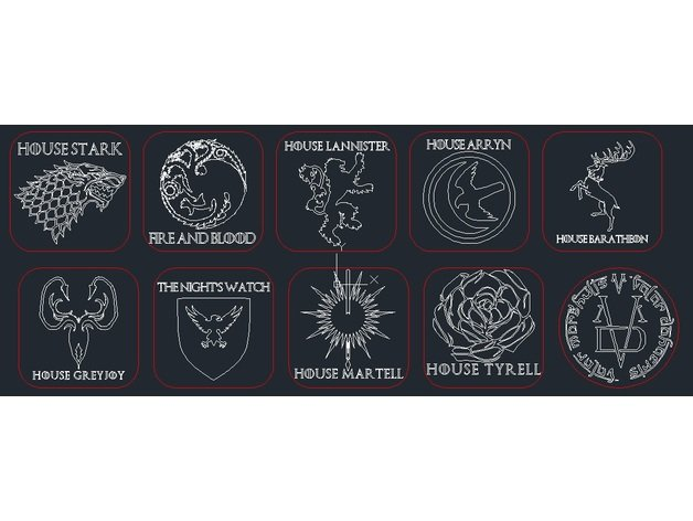 Laser Cut Game Of Thrones Coasters Red Cutting Line Free Vector