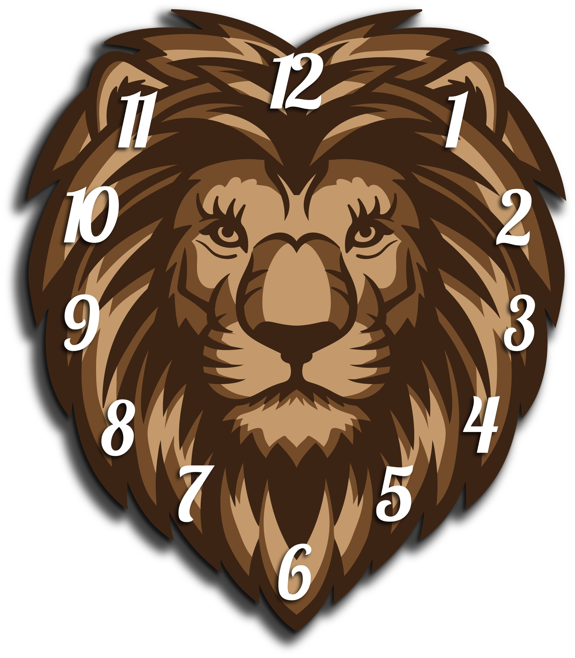 Laser Cut Lion Head Wall Clock Template Free Vector