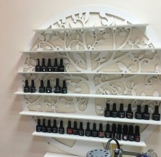 Laser Cut Nail Polish Wall Rack Shelf Holder Nail Varnish Storage Organizer Cosmetic Store Display Shelf Free Vector
