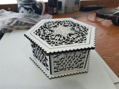 Laser Cut Wooden Hexagon Openwork Box 3mm Free Vector