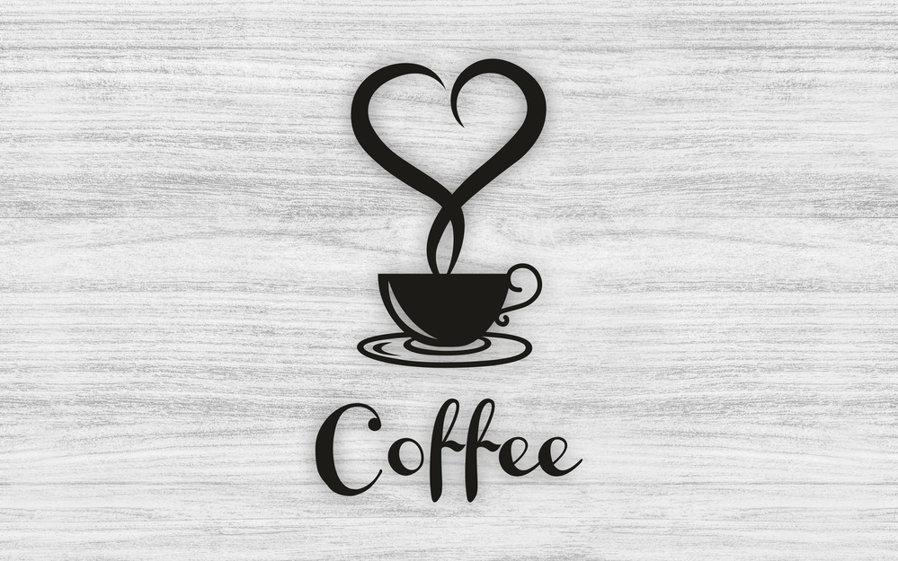 Laser Cut Coffee Cup With Heart Wall Art Decor Free Vector