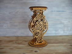 Laser Cut Decorative Vase Wooden Flower Stand Free Vector