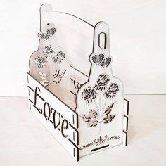 Laser Cut Valentine Day Decor Valentine Basket Floral Arrangement Free Vector