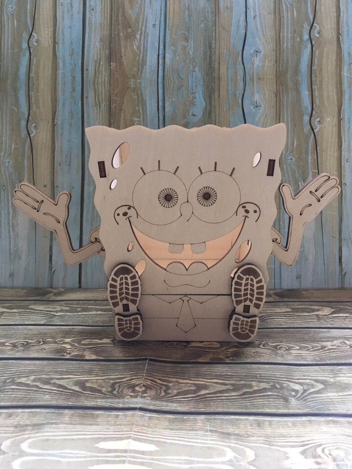 Laser Cut Spongebob Squarepants Pencil Holder With Drawer Free Vector