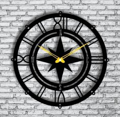 Laser Cut Compass Wall Clock Sailor Wall Clock Free Vector