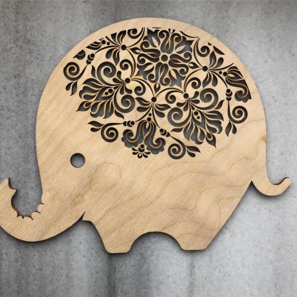 Laser Cut Elephant Decorative Design Free Vector