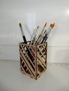 Laser Cut Modern Pencil Holder For Office Table 3mm DXF File