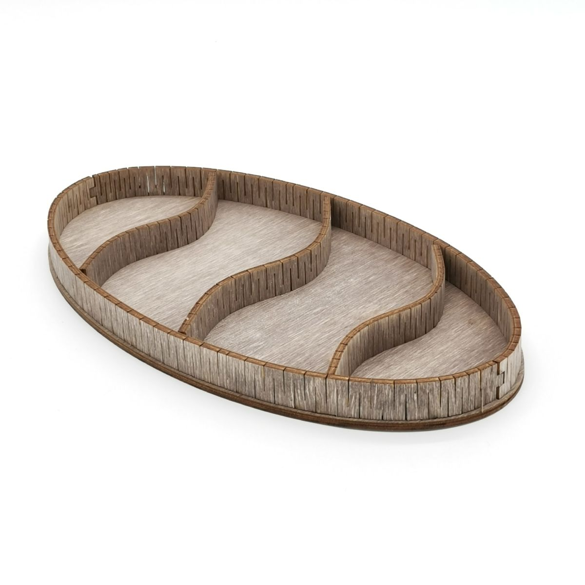 Laser Cut Wooden 4-Section Divided Oval Tray Free Vector