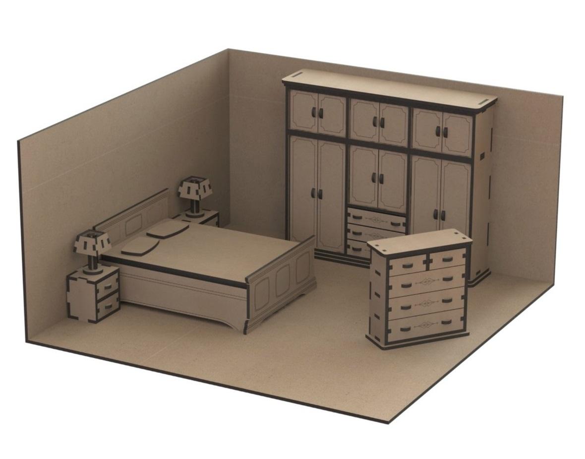 Laser Cut Dollhouse Kit Mini Furniture Free Vector