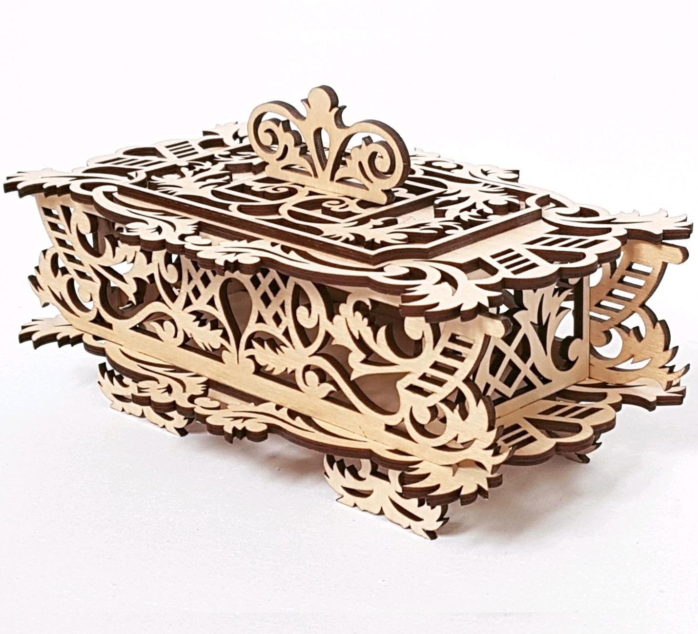 Laser Cut Decorative Wooden Basket With Lid DXF File
