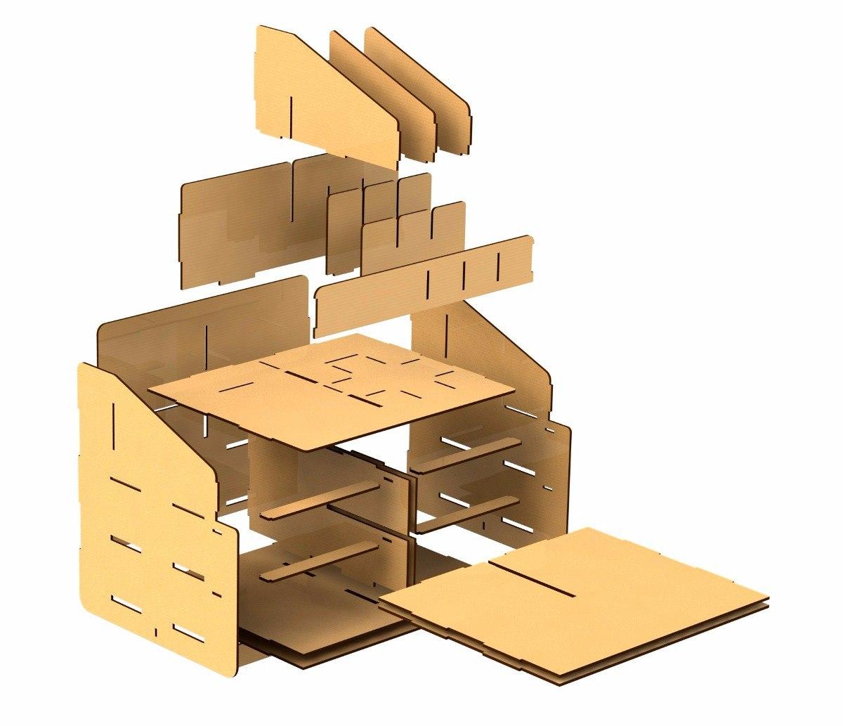 Laser Cut Wooden Desktop Organizer Storage Box With Drawer Free Vector