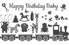 Laser Cut Engrave Baby Birthday Decorations Free Vector