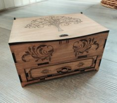Laser Cut Jewelry Box With Drawer 3mm Plywood SVG File