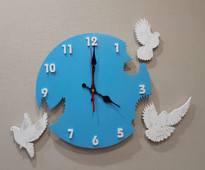 Laser Cut Pigeon Wall Clock Free Vector