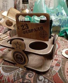 Laser Cut Wooden 4 Pack Beer Carrier Beer Caddy Free Vector