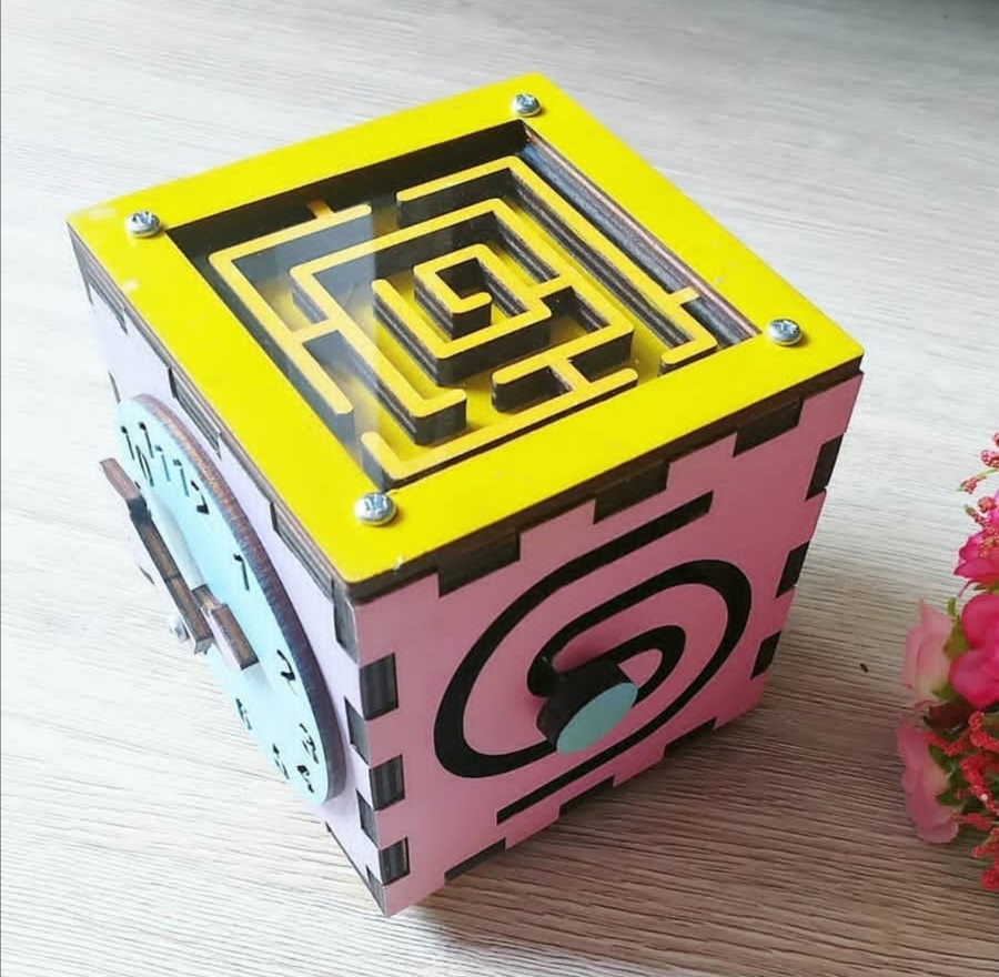 Laser Cut Busy Box Toy For Kids Free Vector