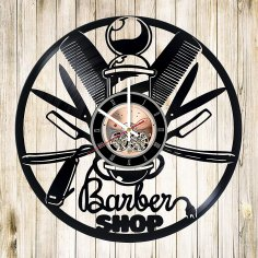 Laser Cut Hair Salon Wall Decor Vinyl Record Wall Clock Free Vector