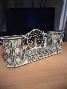 Laser Cut Decorative Desk Organizer Pen Holder Free Vector