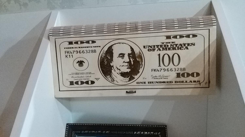 Laser Cut 100 Dollar Wooden Money Box Free Vector