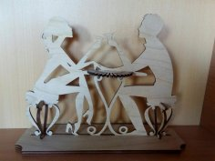 Laser Cut Couple Toasting Martini Glass Napkin Holder Free Vector
