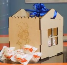 Laser Cut Candy Gift Box With Ribbon Handle 4mm Free Vector