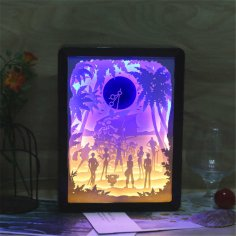 Laser Cut 3D Paper Carving Light Bedroom LED Shadow Lamp Free Vector