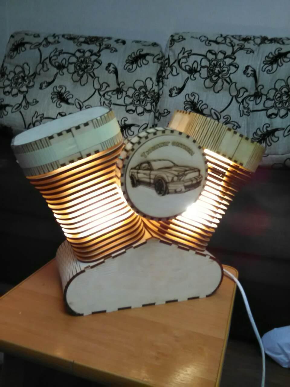 Laser Cut Wooden Harley Davidson Lamp Nightlight Free Vector