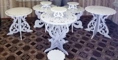 Laser Cut Decorative Furniture Table Set Free Vector