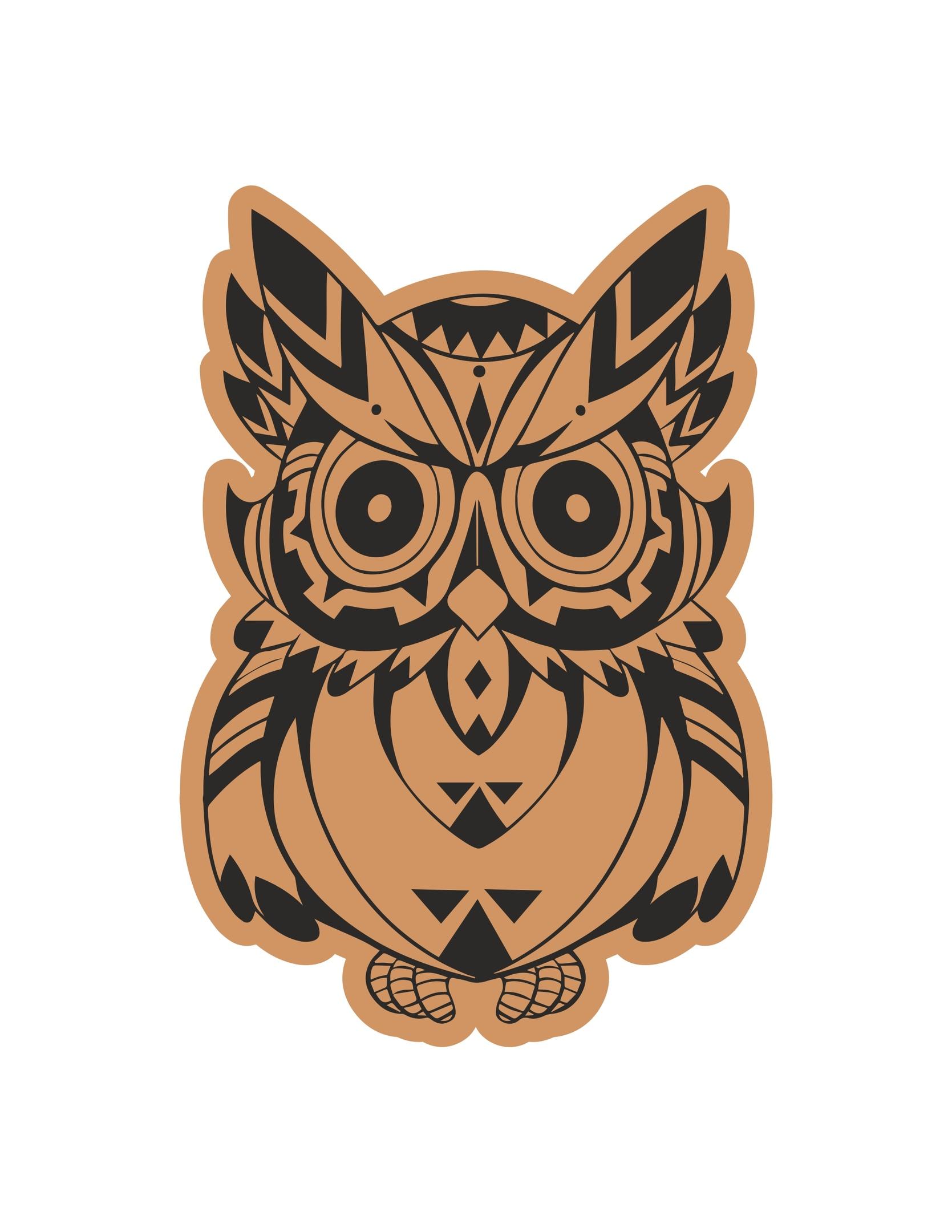 Cute Owl Laser Cut Engraving Template Free Vector