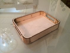 Laser Cut Wooden Tray With Handles DXF File