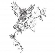 Bird Flowers Decor Vector Free Vector