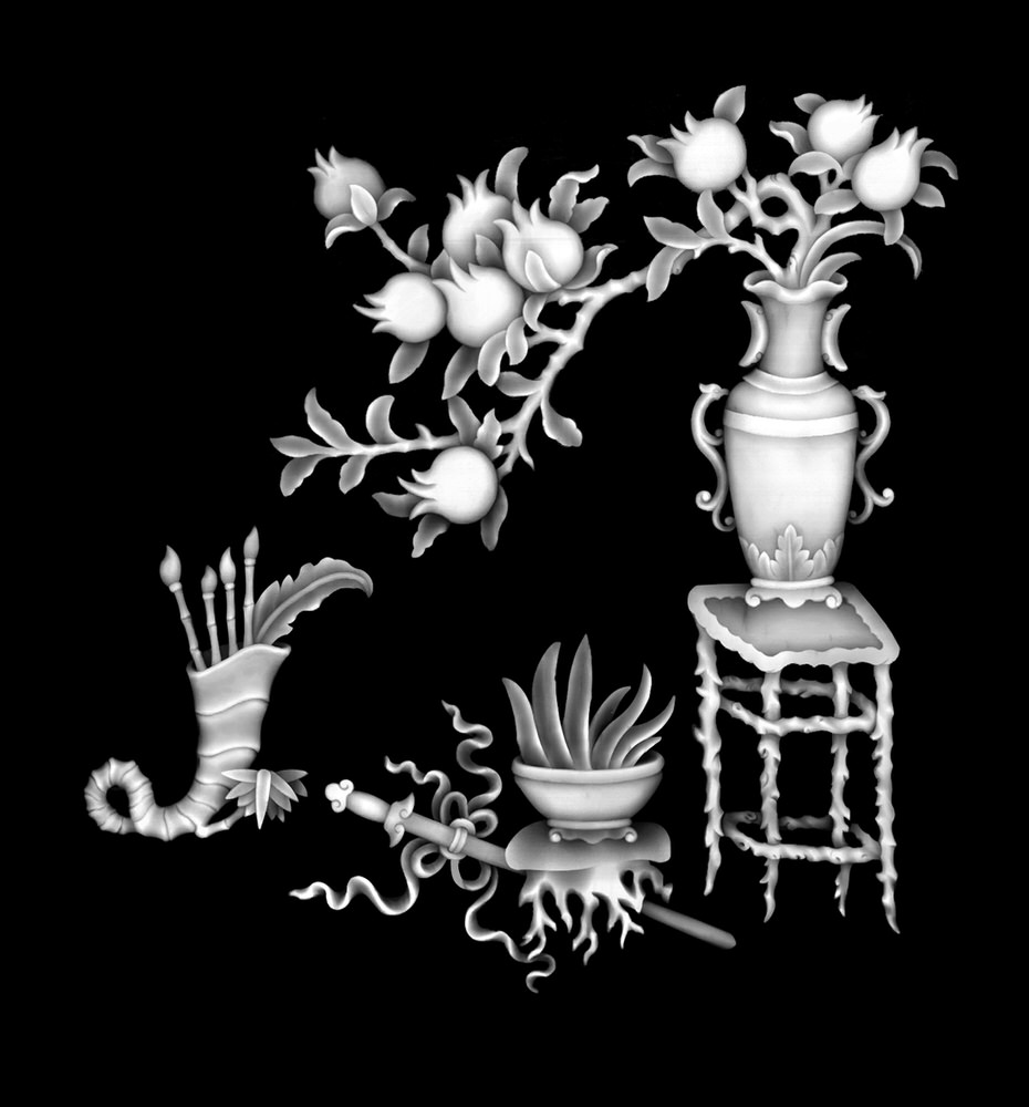 High Quality Vase with Flowers Grayscale for CNC BMP File