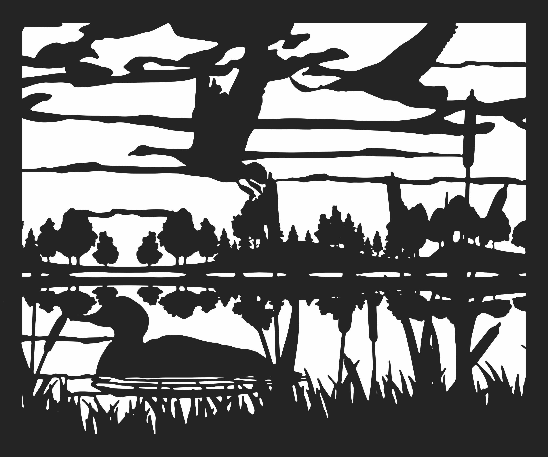 30 X 36 Ducks Geese Lake Trees Plasma Art DXF File
