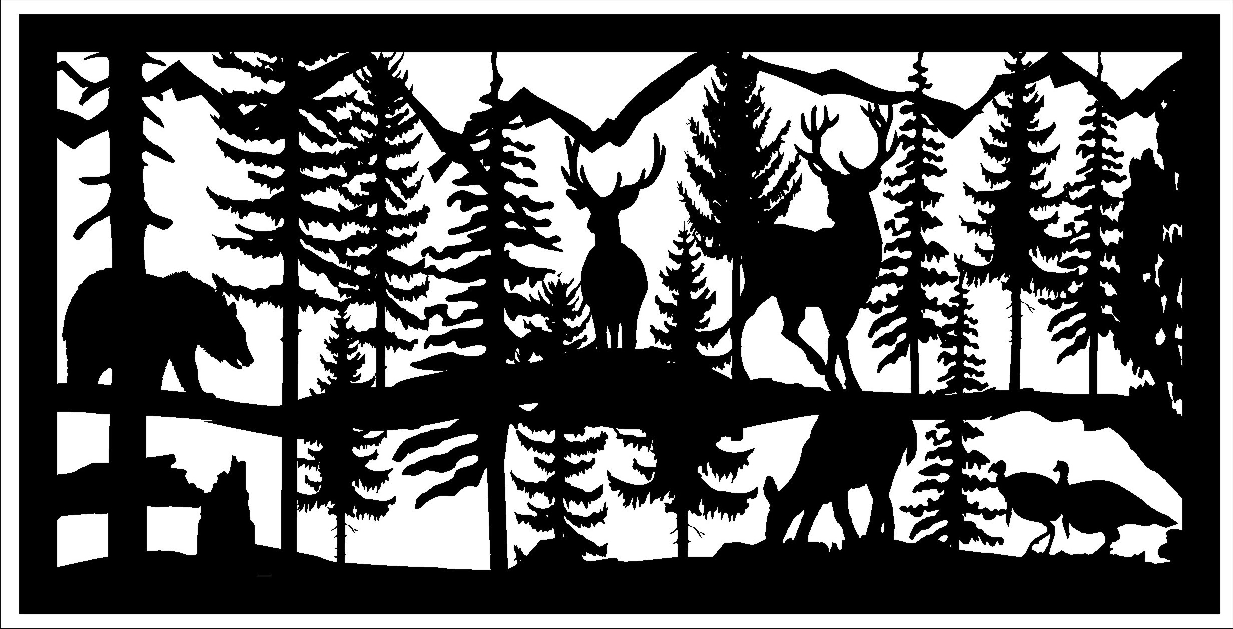 24 X 48 2 Turkeys 2 Bucks 1 Doe 1 Bear Plasma Art DXF File