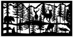 24 X 48 2 Turkeys 2 Bucks 1 Doe 1 Bear Plasma Art DXF File