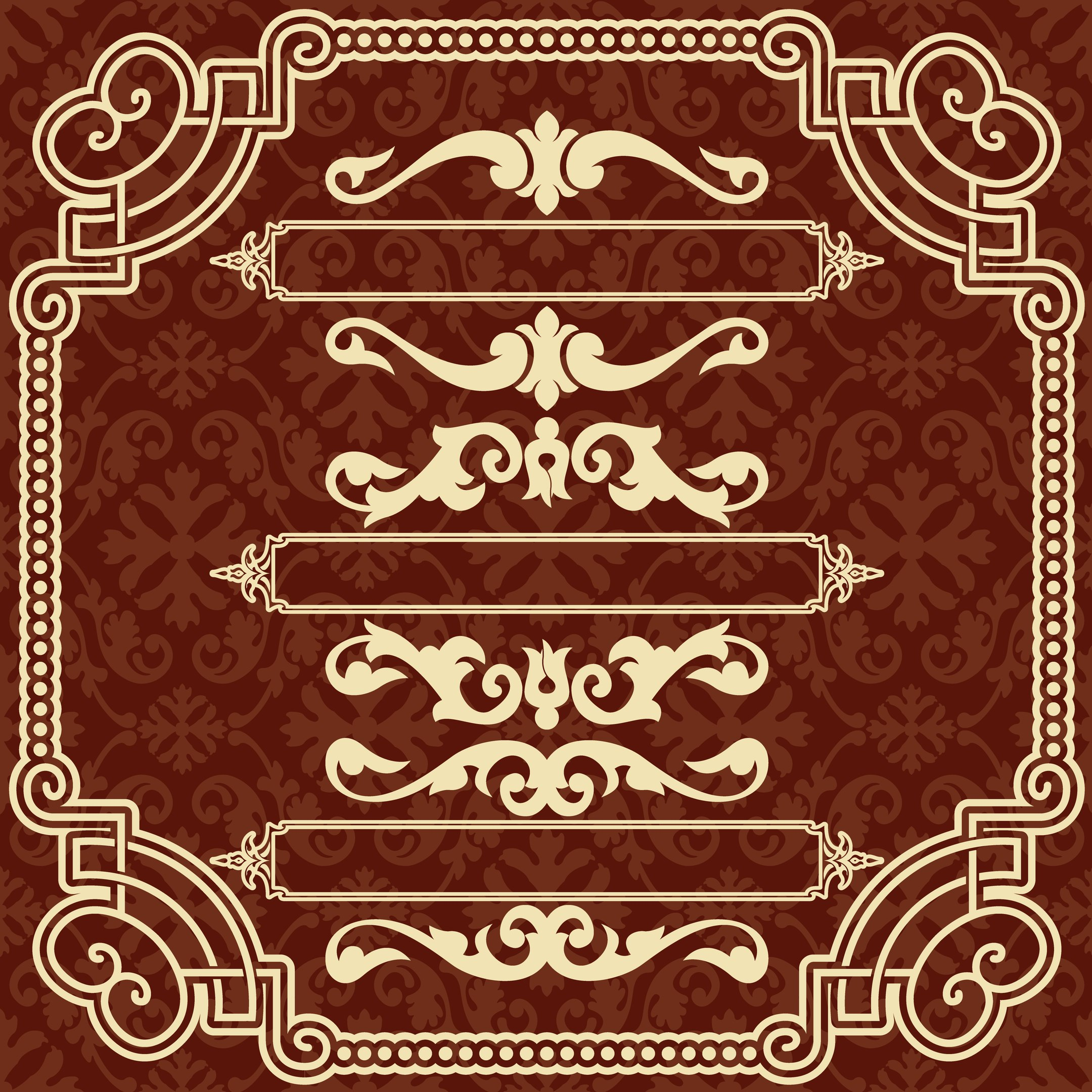 Square Frame With Ornamental Border Free Vector
