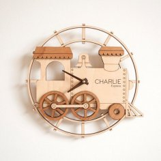 Train Shape Wall Clock Laser Cut Template Free Vector
