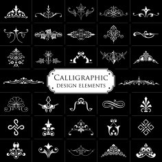 Calligraphic Elements On Black Background Vector Set Free Vector