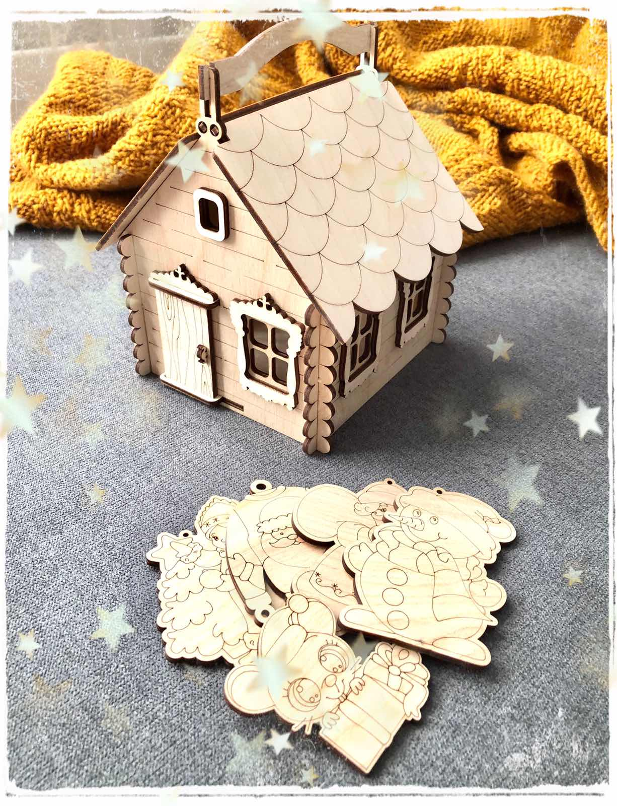 Laser Cut House with Handle Candy Box Basket Free Vector