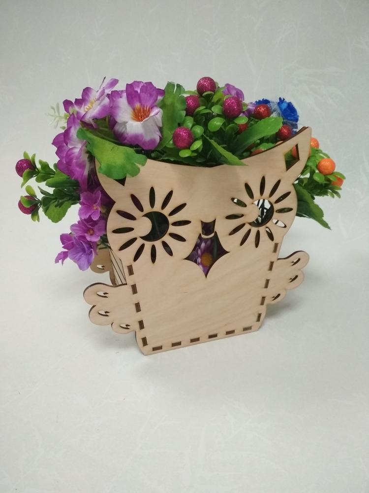 Laser Cut Owl Shape Flower Box Free Vector