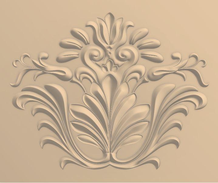 Carved Floral Design for CNC Router Stl File