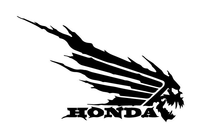 Honda Wing Skull Decal Sticker DXF File