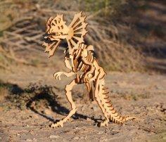 Laser Cut Dilophosaurus Dinosaur 3D Puzzle Model 3mm Free Vector