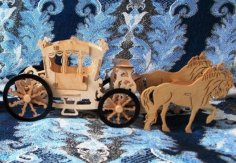 Laser Cut Royal Horse Carriage Horse Cart Free Vector
