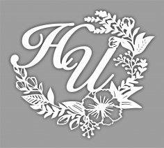 Laser Cut Floral Monogram Free Vector