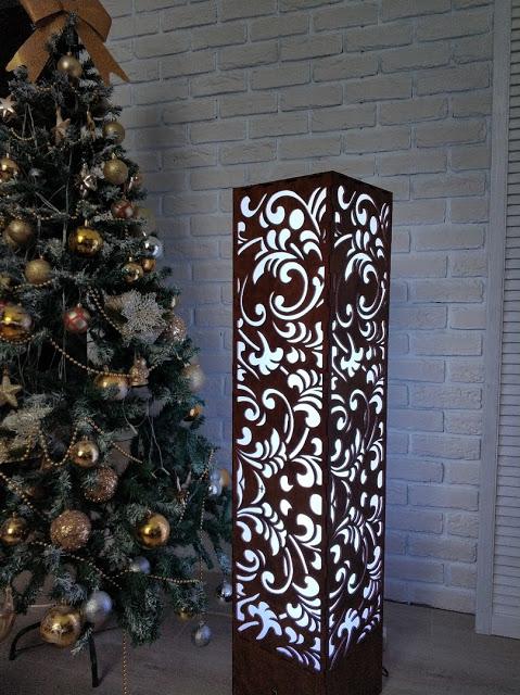 Laser Cut Decorative Floor Lamp Free Vector