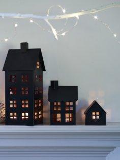 Laser Cut House Tea Light Lantern Free Vector