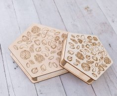 Laser Engraving For Nuts Wooden Gift Box Free Vector