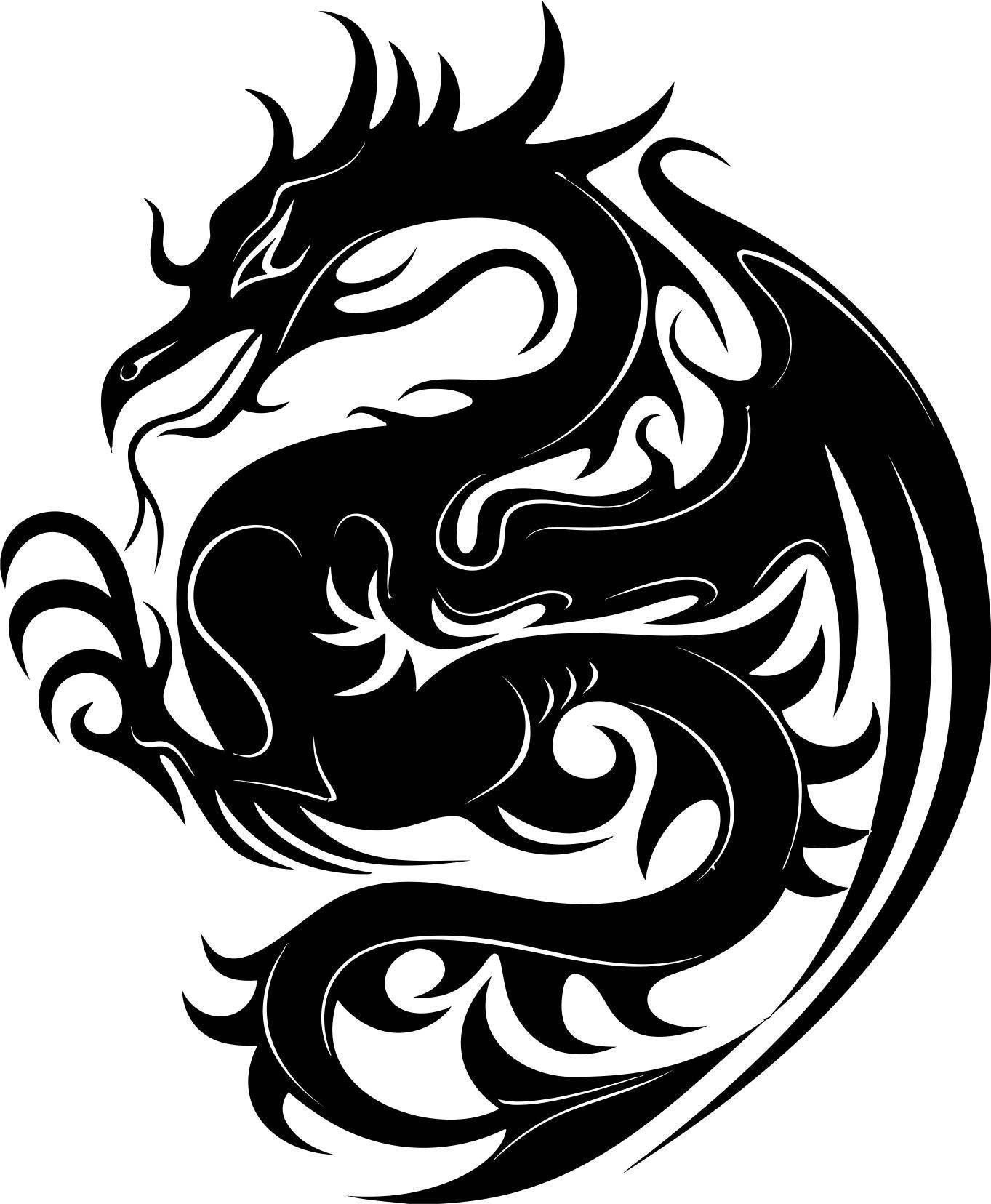 Dragon Stencil Free Vector