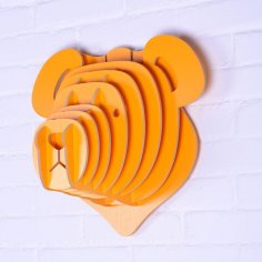 Laser Cut Teddy Bear Head Trophy 3D Wall Art Free Vector
